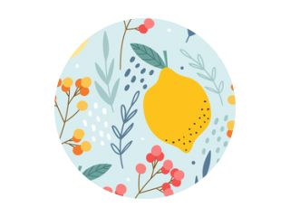 Lemons and berries seamless pattern for print, textile, fabric. Hand drawn citrus fruits background.