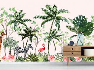 Hand drawn tropical vintage botanical landscape, illustration with palm trees, banana trees, palm leaves, hibiscus flowers, giraffe, zebra, elephant. Floral seamless border blue background.