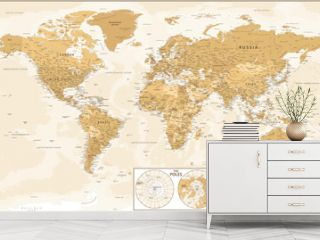 World Map and Poles - Golden Vintage Political Topographic - Vector Detailed Layered Illustration