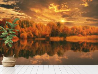 beautiful autumn landscape sunset golden trees are reflected in the water of the lake fog bright sunset sun golden color