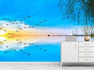 reflejos en el lago azul