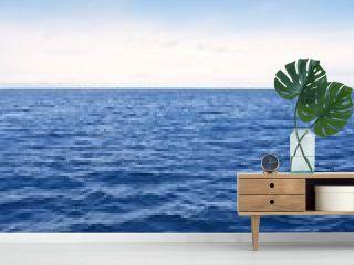Blue simple clean seascape sea view in vertical