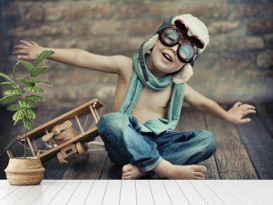A small boy playing