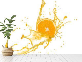 Orange slice in juice splash, isolated on white background