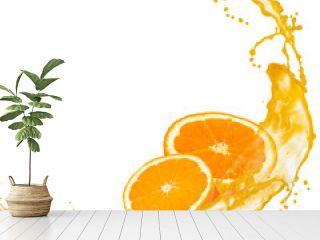 Orange slices with splash isolated on white