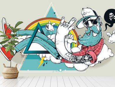 Abstract graffiti hipster
