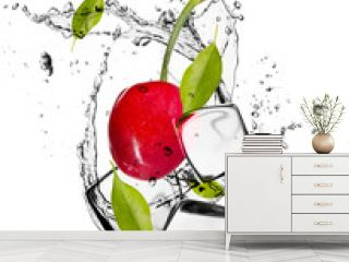 Cherries with ice cubes, isolated on white background