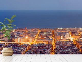 Barcelona skyline panorama at the Blue Hour