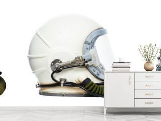 Set of astronaut helmets isolated on a white background.