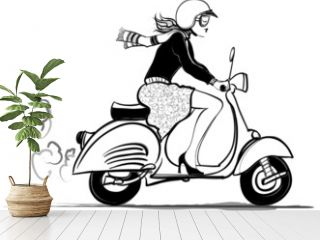 Woman riding vespa