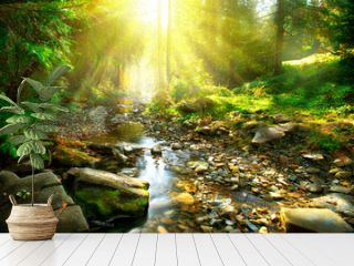 Mountain river. Tranquil scenery in the middle of green forest
