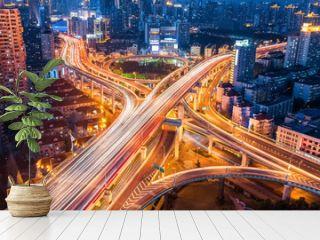 city interchange closeup at night