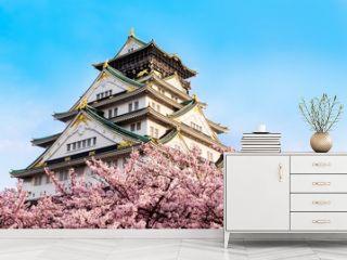 Osaka castle with cherry blossom. Japan, April,spring.