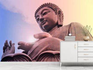 Buddha statue at Po Lin monastery. Hong Kong. Bright light.