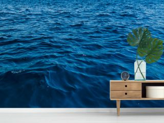 close up blue water surface at deep ocean