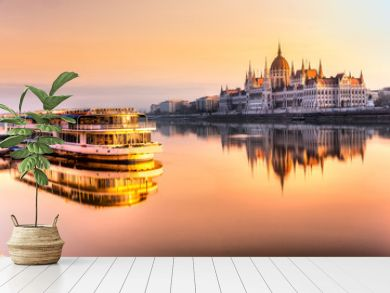 Budapest parliament at sunrise, Hungary
