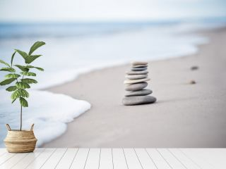 Yoga - Wellness - Steine am Nordseestrand