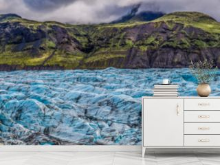 Panorama of stunning Vatnajokull glacier and mountains in Iceland