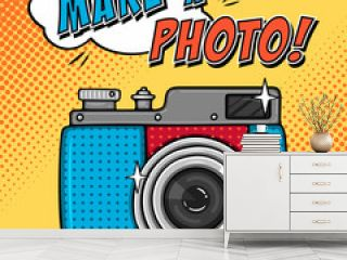Comic illustration with photo camera in pop art style