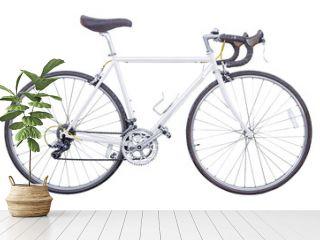 vintage white road bike isolated