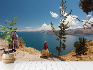 Two Women In Traditional Bolivian Clothes Standing On The Rock Close To The Titicaca Lake.