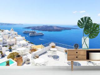 Sea view and boats, Santorini, Greece