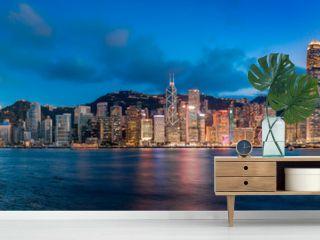 Hong Kong Victoria Harbor in magic hour
