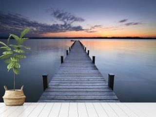 Lake at Sunset, Long Wooden Pier
