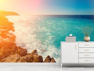 Rocky seashore. Cote d'Azur. French Riviera, Nice, France
