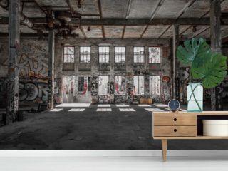 abandoned warehouse - factory room - empty loft