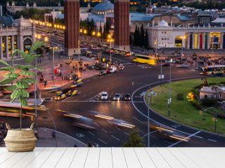 Spanish Square aerial view in Barcelona