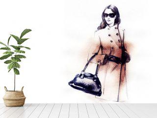 autumn style. fashion illustration . woman in coat. autumn look. watercolor painting.