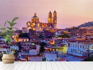 Panorama of Taxco city at sunset, Mexico