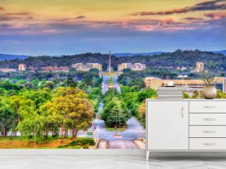 View along Kings Avenue towards the Australian-American Memorial in Canberra, Australia
