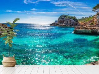 Island scenery, seascape Spain Majorca, beach bay Cala s'Almunia, beautiful coastline Mediterranean Sea