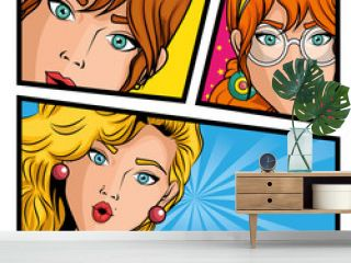 Pop art comic strip with women over white background vector illustration