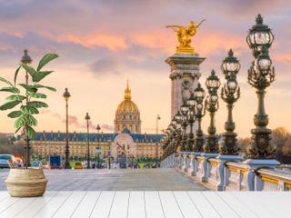 The Alexander III Bridge across Seine river in Paris