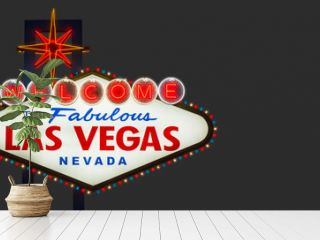 Welcome to fabulous Las Vegas Nevada sign on gray background