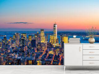 Aerial view of Manhattan skyline at sunset, New York City