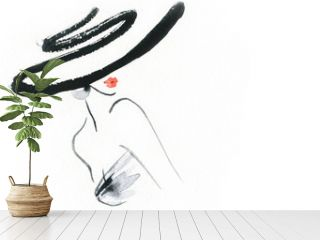Abstract woman with hat. Fashion illustration.