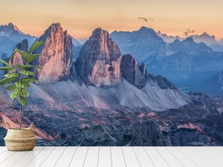 Tre Cime di Lavaredo mountains in the Dolomites at sunset, South Tyrol, Italy