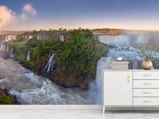 The amazing Iguazu falls, summer landscape with scenic waterfalls