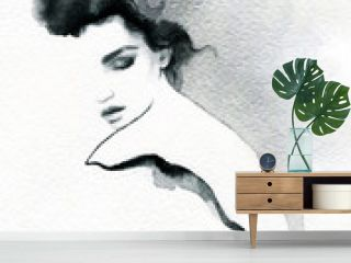 beautiful woman. fashion illustration. melancholy.  watercolor illustration