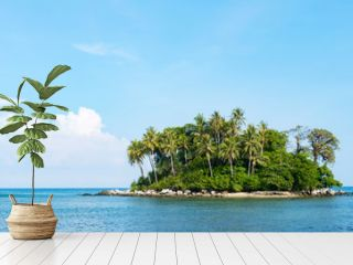 small tropical island with sky and clouds in summer season,phuket thailand