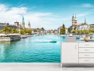 Zürich city panorama with Limmat river in summer, Switzerland