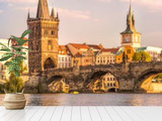 Charles Bridge and lookout tower  in Prague, Czech Republic.