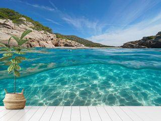 Beach and rock on seashore with sand underwater, split view half above and below water surface, Mediterranean sea, Spain, Costa Dorada, Platja Del Torn, l'Hospitalet de l'Infant, Tarragona, Catalonia
