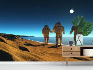 Astronauts near the sea.