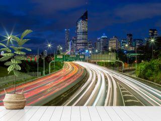 night scene of brisbane with traffic trails