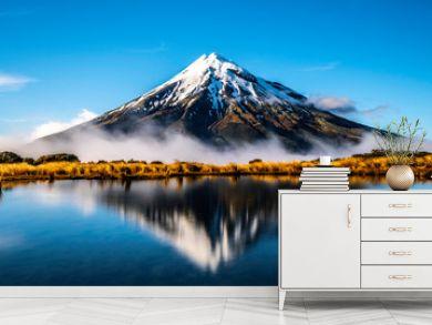 Mirror lake Mount Taranaki New Zealand